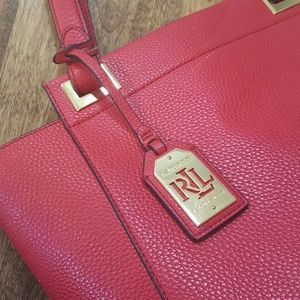Red and gold Lauren tote bag
